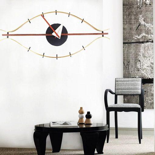 Horloge murale décorative en bois et métal