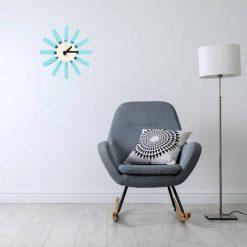 horloge murale design bleu bureau