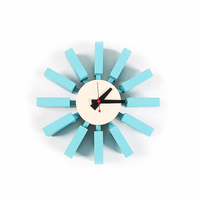 Horloge murale design bleu