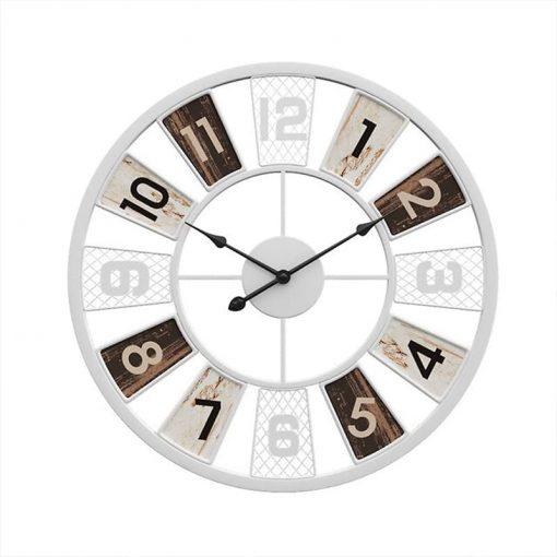 Horloge murale industrielle vintage de couleur blanche