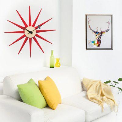 Horloge murale rouge originale pour le salon ou le séjour