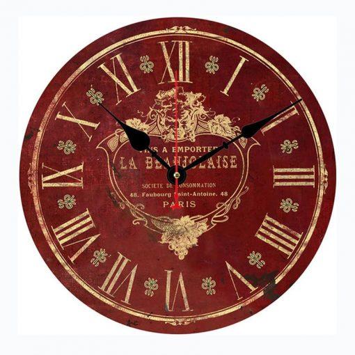 Horloge murale rouge vintage