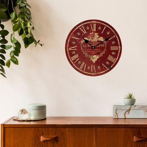 horloge murale rouge vintage chic