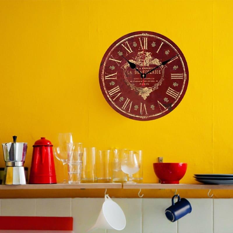 horloge murale rouge vintage cuisine