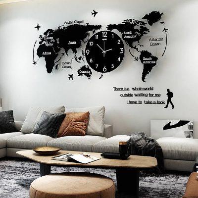 Horloge murale originale carte du monde noire