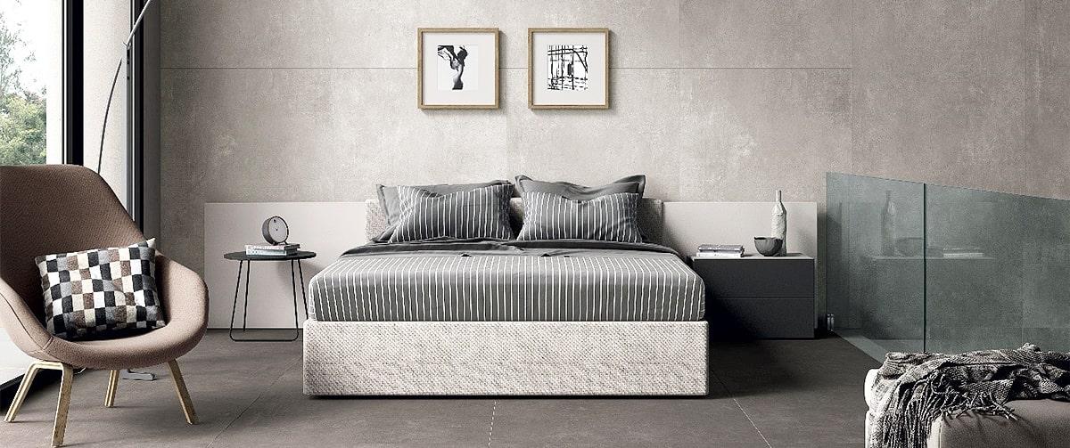 Chambre contemporaine et design avec mur en carrelage