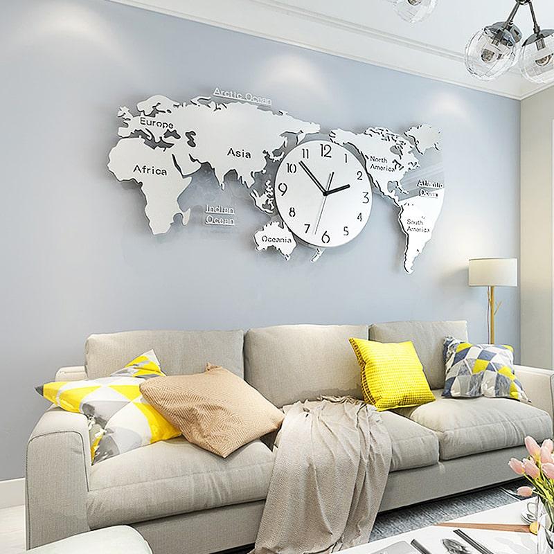 Grande horloge murale originale et design mappemonde