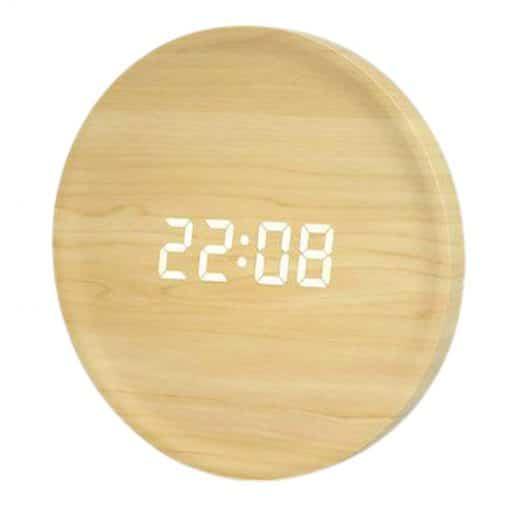 Horloge digitale murale en bois