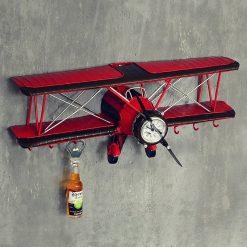 Horloge murale avion vintage en métal