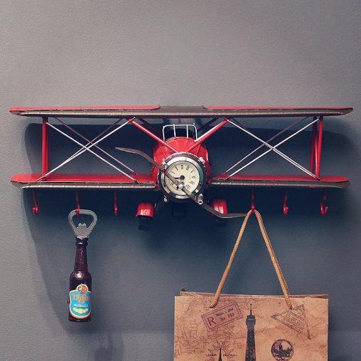 Horloge murale avion vintage style rétro