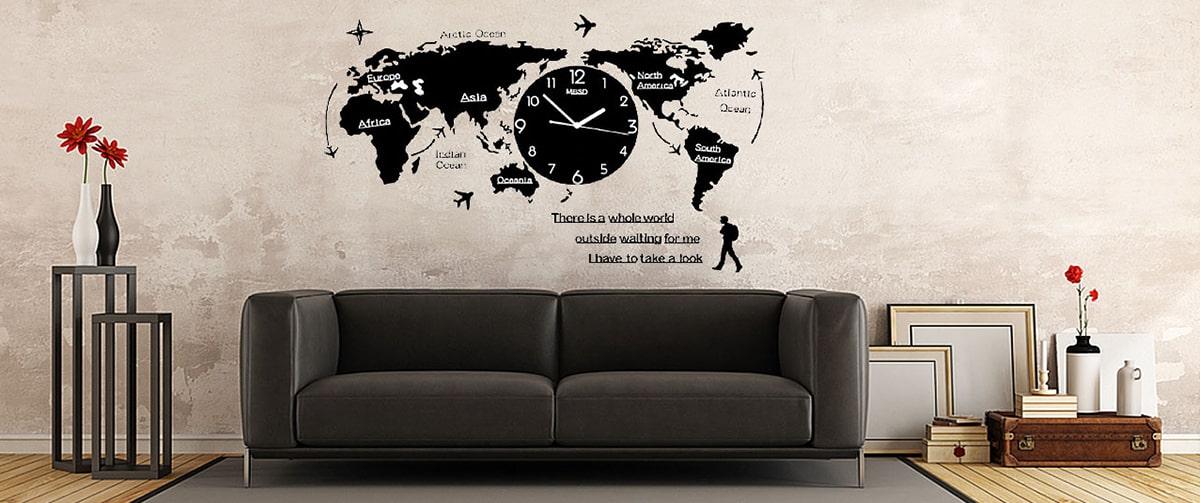 Horloge murale carte du monde pour une décoration murale originale
