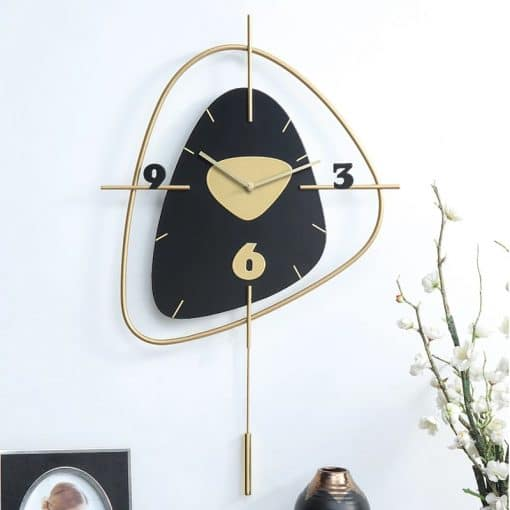 Horloge murale decorative en bois coloris noir ebene