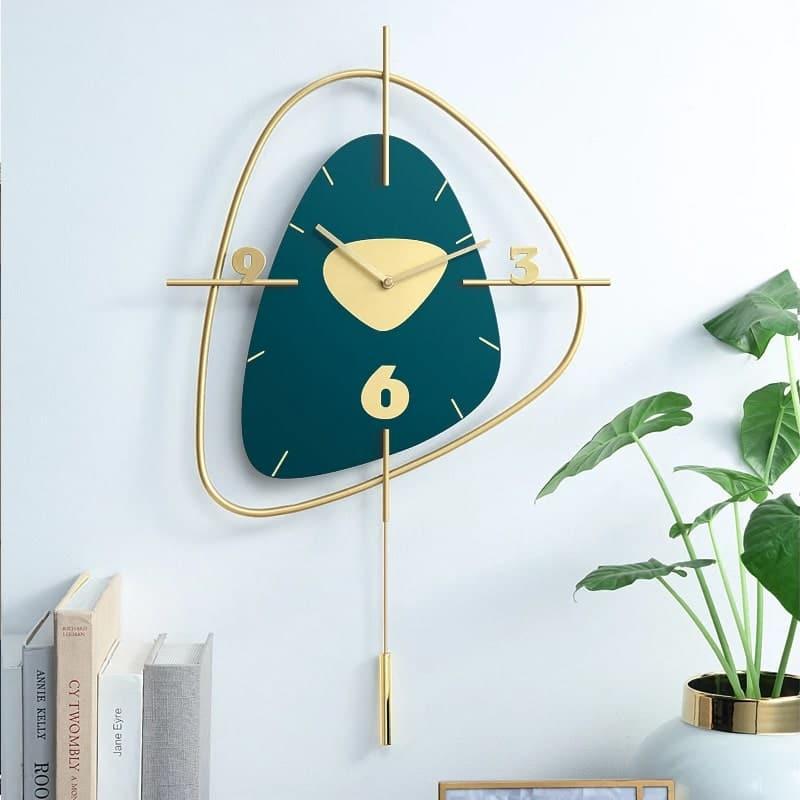 Horloge murale decorative en bois coloris vert canard