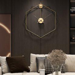 Horloge murale design 3D dans un salon moderne