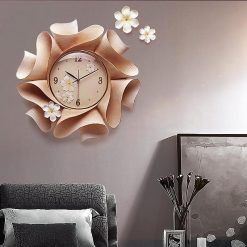 Horloge murale design originale rose