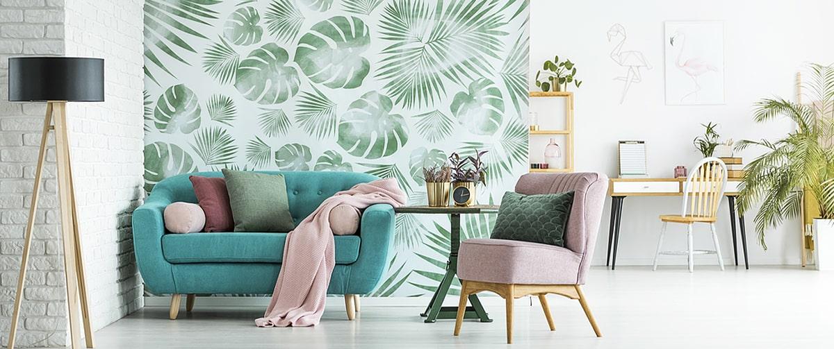 Papier peint design dans un séjour au style vintage