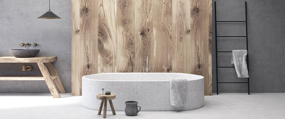 Salle de bain hygge en bois au style scandinave