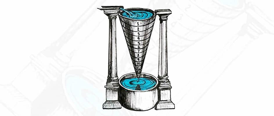 Croquis d'une horloge à eau (hydraulique)