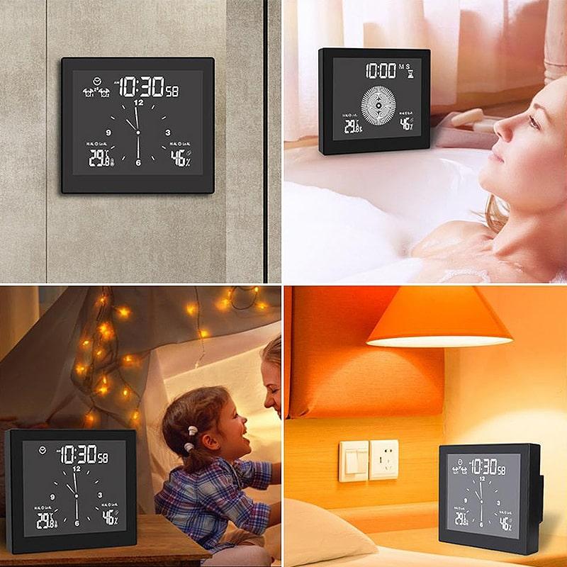 Horloge murale design et digitale pour une chambre ou une salle de bain