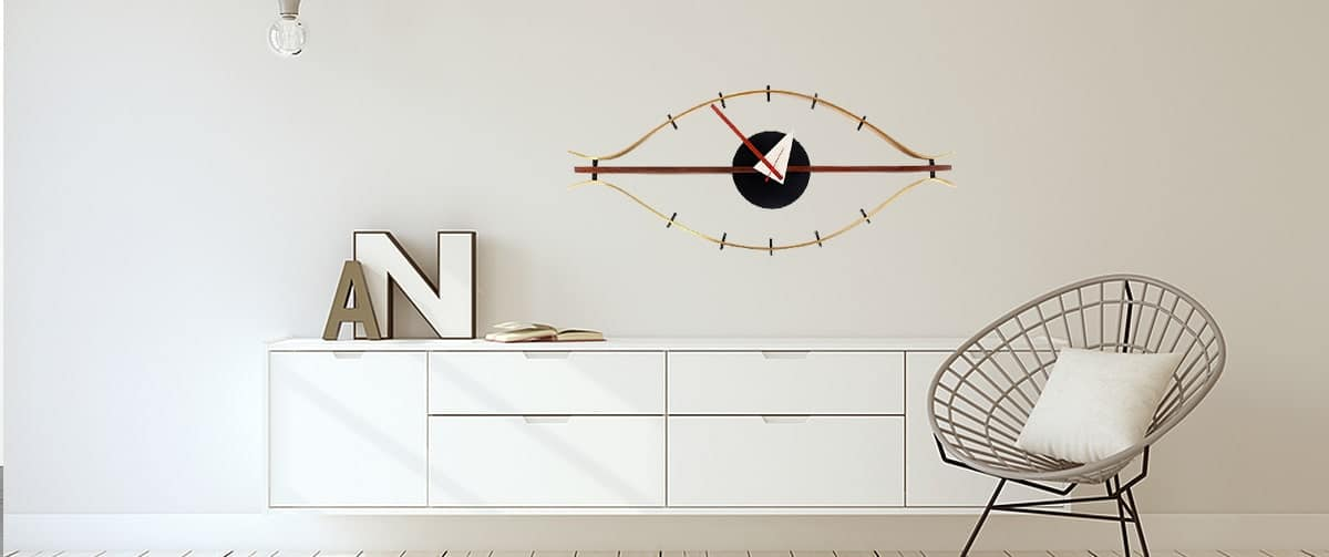 Horloge murale design dans un salon moderne et minimaliste
