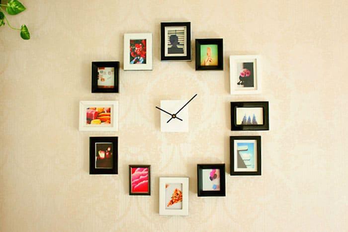 Horloge murale composee de cadres photos
