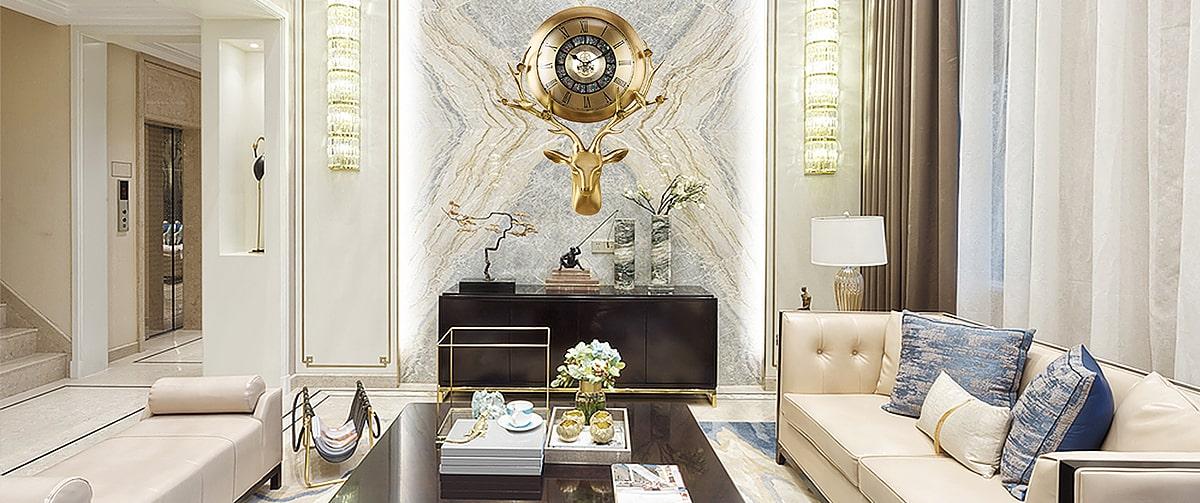 Horloge murale design haut de gamme en cuivre