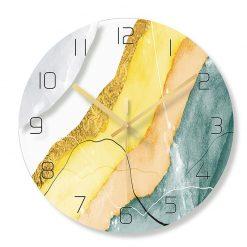 Horloge murale style scandinave blanc jaune et bleu