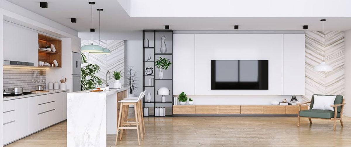 Cuisine avec une décoration intérieure design et moderne