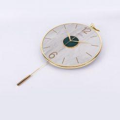 Horloge murale pendule moderne blanche et dorée