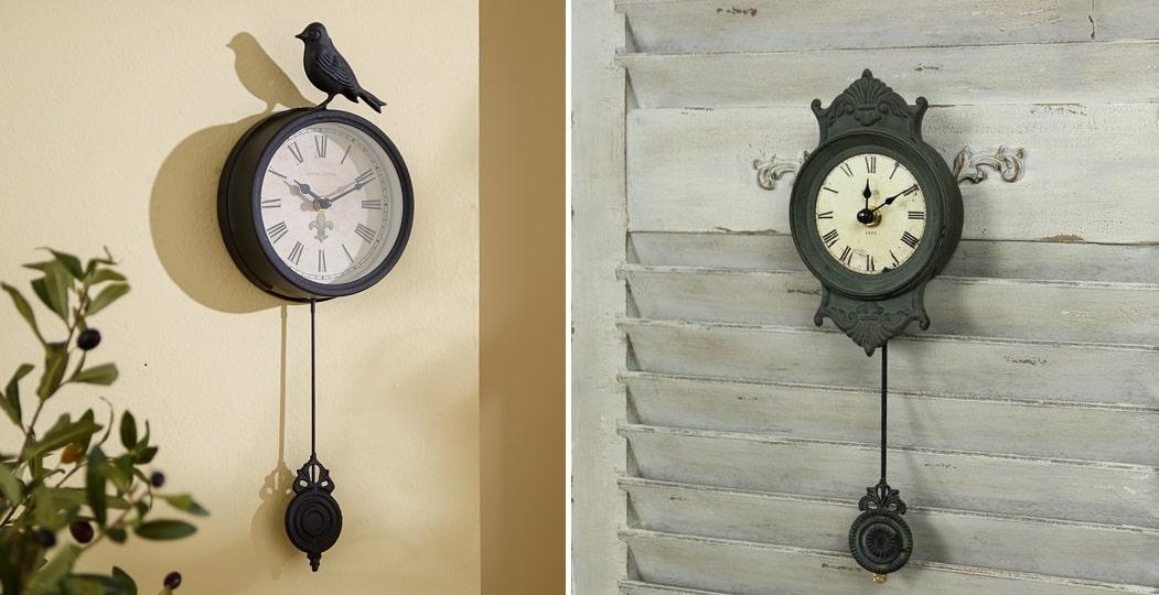 Horloges murales à pendule au style vintage et rétro