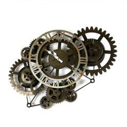 Horloge murale industrielle noire en metal